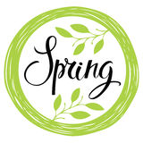 Spring card with circle frame and leaves Royalty Free Stock Photo
