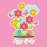Spring card with cute butterfly, mushroom and flower cartoon Stock Photo