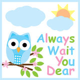 Spring card with cute owl on flower branch Stock Photography