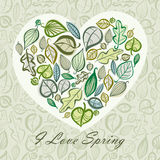 Spring card design with heart made of leaves. Royalty Free Stock Photography