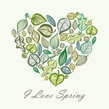 Spring card design with heart made of leaves, vector illustratio Stock Photos