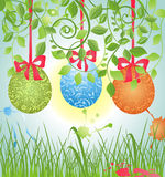 Spring card with easter eggs Royalty Free Stock Photos