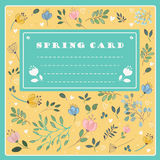Spring Card on the floral background. Vector Stock Photo