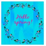 Spring card with floral wreath Royalty Free Stock Photos