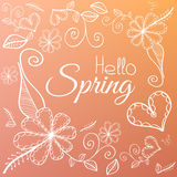 Spring card with flower elements on pink background Stock Photos
