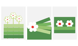 Spring card with flowers material design. Vector Stock Photos