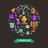 Spring Card with Gardening and Landscaping Icons Stock Photos