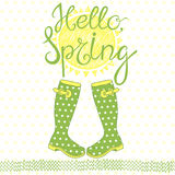 Spring card with a greeting. Hand-drawn  illustration. Royalty Free Stock Photos