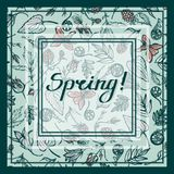 Spring! Card greeting invitation. Card with frames, lettering and forest plants spring. Geum Rivale, Fern, Viola, Bell, Cloudberries. Vector illustration Royalty Free Stock Photography