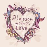 Spring card with heart shape Royalty Free Stock Photography