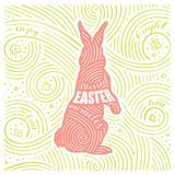 Spring Card. The Lettering - Blessed Easter Miracles. Easter Design with Rabbit. Handwritten Swirl Pattern. Vector Illustration Stock Photography