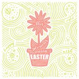 Spring Card. The Lettering - This Glorious Season Easter. Easter Design with Flower. Handwritten Swirl Pattern. Vector Illustration Stock Photo