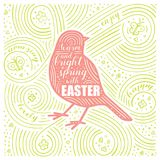Spring Card. The Lettering - Warm And Bright Spring With Easter. Easter Design with Bird. Handwritten Swirl Pattern. Vector Illustration Royalty Free Stock Photos