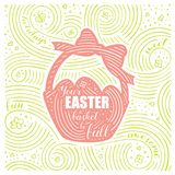 Spring Card. The Lettering - Your Easter Basket Be Full. Easter Design with Basket. Handwritten Swirl Pattern. Vector Illustration Royalty Free Stock Image