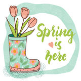 Spring card with rain boot and tulips. Vector illustration Stock Photo