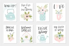 Spring card set, hand drawn elements with quotes, calligraphy, flowers, wreath, leaf. Spring card set, hand drawn elements. Perfect for greeting cards, sale Royalty Free Stock Photo