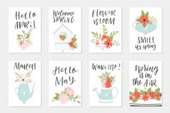 Spring card set, hand drawn elements with quotes, calligraphy, flowers, wreath, leaf. Spring card set, hand drawn elements. Perfect for greeting cards, sale Stock Photo