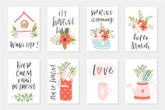 Spring card set, hand drawn elements with quotes, calligraphy, flowers, wreath, leaf. RnrnPerfect for greeting cards, sale badges, scrapbook, poster, cover Royalty Free Stock Photography