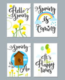 Spring card set with spring quotes, calligraphy, flowers. Spring card set with spring quotes calligraphy flowers balloons. Perfect for greeting cards sale Royalty Free Stock Image