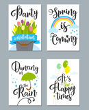 Spring card set with spring quotes, calligraphy, flowers. Royalty Free Stock Photos