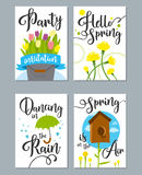 Spring card set with spring quotes, calligraphy, flowers. Perfect for greeting cards sale badges scrapbook poster cover tag invitation vector illustration Royalty Free Stock Images