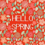 Spring card in . Stylish floral card in bright colors Stock Images