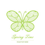 Spring card with an unusual butterfly Royalty Free Stock Photos
