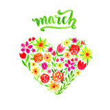 Spring card with watercolor floral heart. Valentines  Day or Woman day illustration with flowers and marh lettering Royalty Free Stock Images