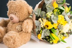 Spring Cards flowers and a bear stock image