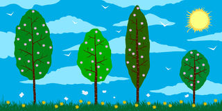 Spring. Cartoon blossoming trees on the field with flowers, clouds, and sun. Spring. Vector cartoon blossoming trees on the field with flowers, clouds, and sun Royalty Free Stock Photos