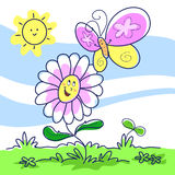 Spring - cartoon illustration Royalty Free Stock Image