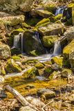 Spring Cascading Waterfalls. A Spring view of a cascading waterfalls located on the Blue Ridge Parkway stock image