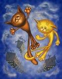 Spring cat. Digital Art. Spring happy  cat Royalty Free Stock Photos