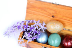 Spring celebrate, Happy easter. Colorful easter eggs in wood box Stock Photo