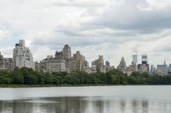 Spring on Central Park with view of New York buildings. Photo shot from inside Central Park in New York Stock Photo