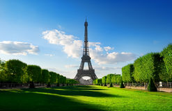 Spring at Champs de Mars. With the view on Eiffel Tower in Paris, France Stock Photos