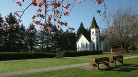 Spring Chapel, dolly shot. A dolly shot past japanese cherry blossoms in spring framing the chapel in Minoru Park, Richmond, British Columbia stock footage