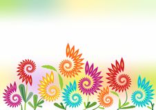 Spring cheerful background with futuristic flowers Stock Photos