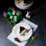 Spring cheese cake with pistachios Royalty Free Stock Photos