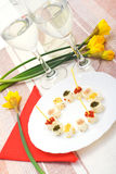 Spring cheese snack. Spring fresh cheese snack, still life Stock Image