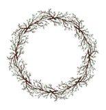 Spring cherry bloosom round frame nature vector illustration