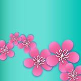 Spring Cherry blossom. Pink beautiful sakura with papercraft flowers. Stock Photo