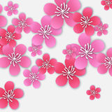 Spring Cherry blossom. Pink beautiful sakura with papercraft flowers. Stock Photos