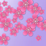 Spring Cherry blossom. Pink beautiful sakura with papercraft flowers. Stock Images