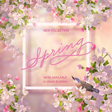 Spring Cherry Blossom. Vector background with spring cherry blossom. Spring collection banner with bird, apple blossoming branch and text vector illustration