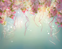 Spring Cherry Blossom Wedding Background. With floating ribbons Stock Photos
