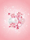 Spring cherry blossoms on pink background Stock Photo
