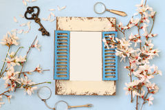 Spring cherry blossoms tree and blank photo frame Stock Photo