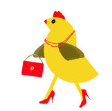 Spring chicken character with bling, handbag. Fun hen. Stock Images