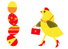 Spring chicken character shopping for Easter eggs Stock Images
